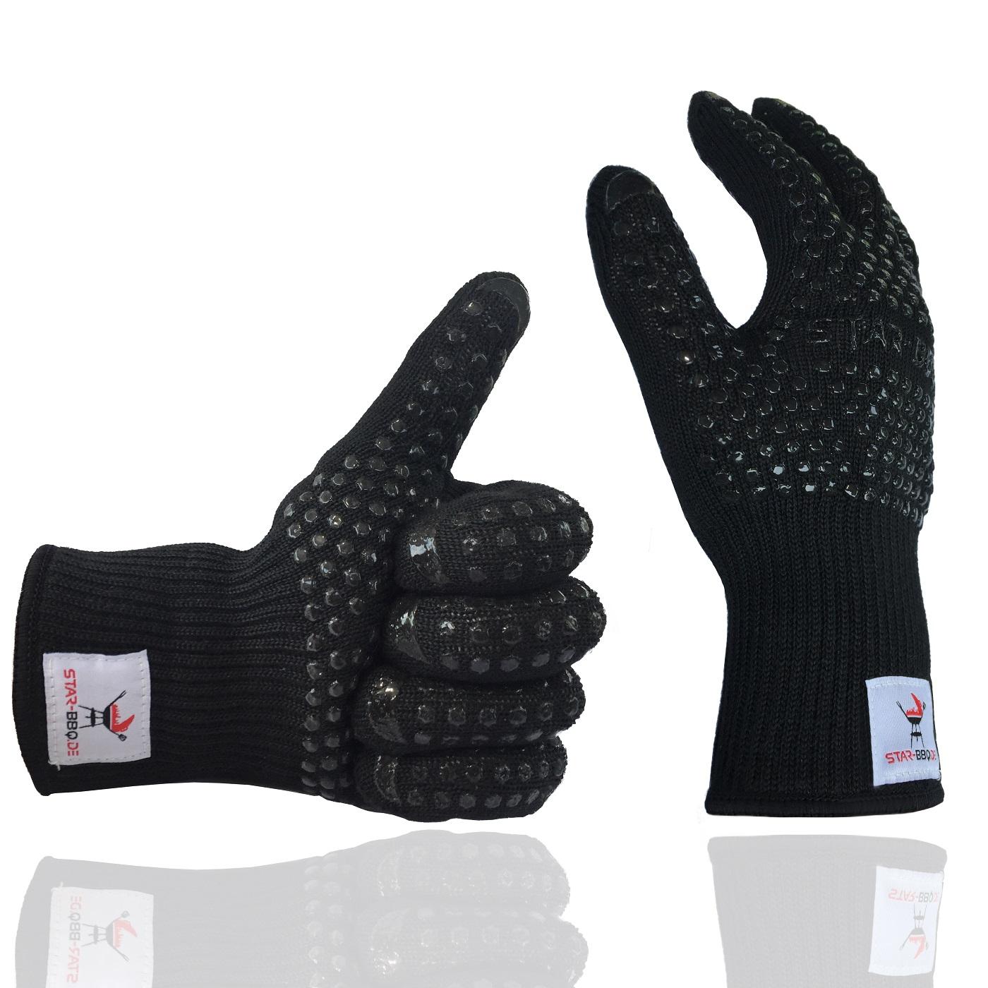 Küchenhandschuhe Profi ~ grillhandschuhe kochhandschuhe hitzebeständig von star bbq in schwarz ebay
